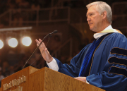 "Jerry West - one of the best shooters in the history of WVU and the NBA, dubbed ""Mr. Clutch"" - urges WVU graduates to create goals and dreams for personal and professional success. ""Protect your character, maintain your determination, bu"