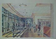An artist\'s rendering of the Alumni Association Lobby of the new library