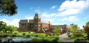 Architectural rendering of new WVU Alumni Association facility to be built on the Evansdale Campus. March-Westin has been selected as the contractor for the new 48,000 square-foot facility.