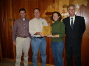WVU Appalachian Hardwoods Center faculty and staff members\' (L-R) Ben Spong, Dave McGill, Robin Maille and Joe McNeel display the Family Forest Education award.