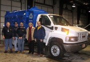 The WVU Recycling Team works to expand services and collection points across the University. Pictured left to right are: Bill Summers, campus service worker, Domenick Rocca, supervisor Campus Services, Mark Foley, campus service worker, Barbara Angeletti,