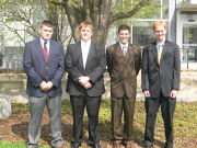 "Four students will receive support for their post-graduate educations thanks to the H.E. ""Doc\"" Kidder Memorial Trust. They are, from left, Kevin Shaffer, Robert Loar, Andrew Gentilin and Brian McMillan."