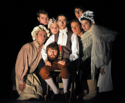 "WVU acting students (from left) Matt Link, Michael Baker, Aileen Targett, Nicholas Yurick, Jesse Delbert, Lindsay Dilworth, Tracy Toman and (head only) Benjamin Levesque perform in ""The Legend of Sleepy Hollow,"" opening Wednesday, Oct. 22, in th"