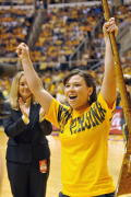 Sophomore Rebecca Durst Saturday (March 7) was named the next Mountaineer mascot.