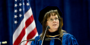 WVU trauma surgeon Dr. Alison Wilson spoke to the December graduates about the challenges and joys ahead.