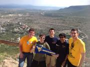 A group of WVU students pose atop Pe�a de Bernal, the highest monolith in the Western Hemisphere, located in Queretaro, Mexico (from left) Manuel Maldonado, Bhishek Singh, Brian Bacza, Eduardo Puig (a local Mexican student) and Dillon Carden