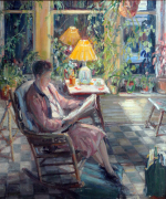 Virginia B. Evans, The Yellow Lampshade, oil on canvas, 35 x 31 inches, ca. 1930. Private collection