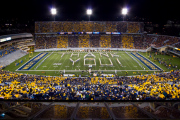 The Pride of West Virginia Mountaineer Marching Band performs at home, thanking its supporters.