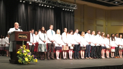 The WVU School of Medicine class of 2018, faculty and guest physicians recite the Oath of Hippocrates together at the medical school's White Coat ceremony