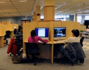 Students study at WVU Evansdale Library