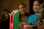 Kwanzaa candles--Red candels represent the principles of Kujichagulia and green Ujamaa (slef-determination and cooperative economics).